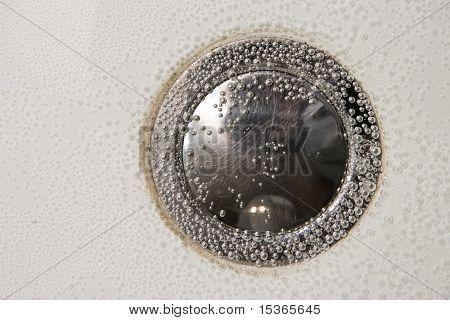 Bubbles on bottom of a bath.