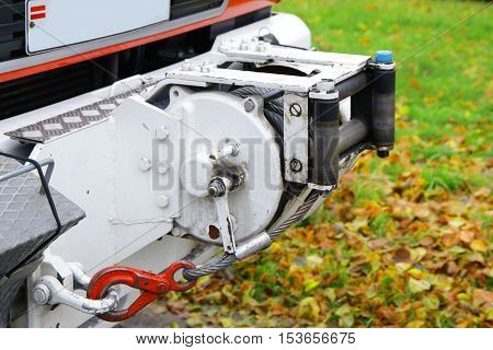 powerful winch jack in front emergency fire truck equiped with hook