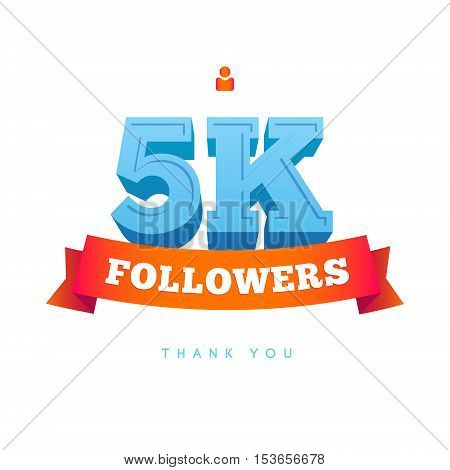 Vector thanks design template for network friends and followers. Thank you 5000 followers card. Image for Social Networks. Web user celebrates a large number of subscribers or followers.