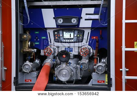 fire truck water supply pressure control pump compressor closeup