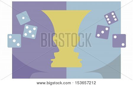Head Silhouettes Facing Each Other With Dice for Mind Games Puzzle Graphic