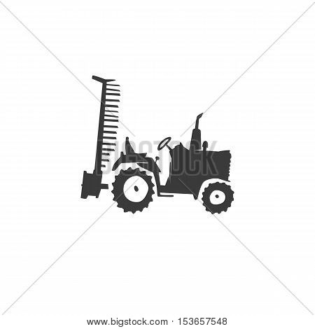 Simple fun tractor icon. Monochrome tractor with outboard plow on white isolated background