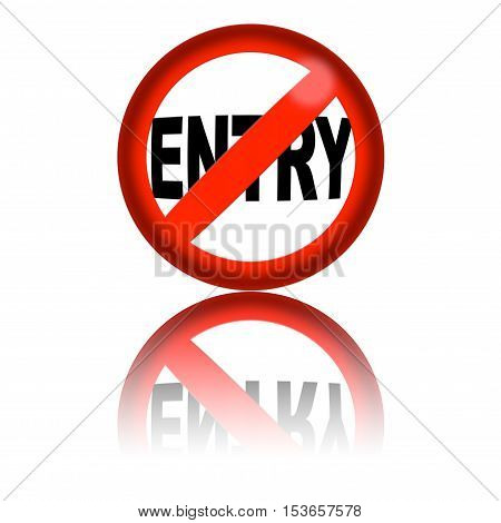 No Entry Sign 3D Rendering