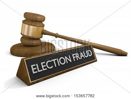 Law concept for election fraud and political corruption, 3D rendering