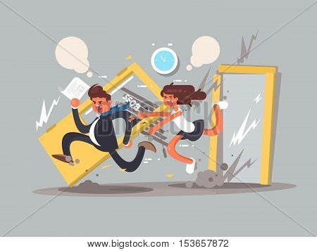 Be first concept. Man running fast in front emotional girl. Vector illustration