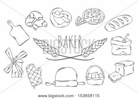 Large collection of line icons in hand drawn style for the profession of baker. Vector illustration