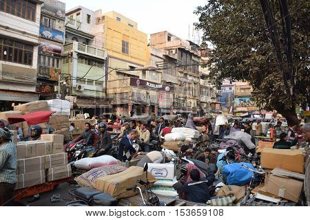 NEW DELHI, INDIA, FEBRUARY 02, 2016 - Daily life in the busy and crowded area of Chandni Chowk in the old part of the city
