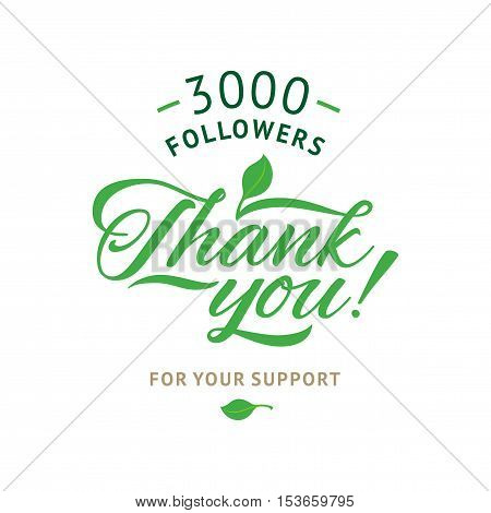 Thank you 3000 followers card. Vector ecology design template for network friends and followers. Image for Social Networks. Web user celebrates a large number of subscribers or followers.