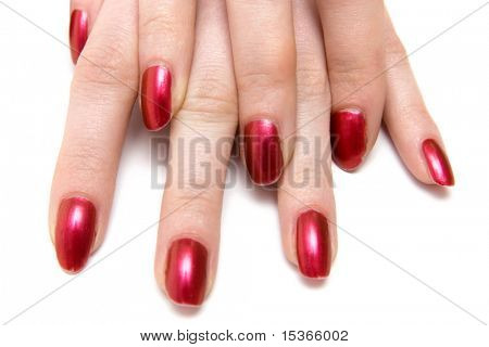 Two woman hands with red nails. On white.
