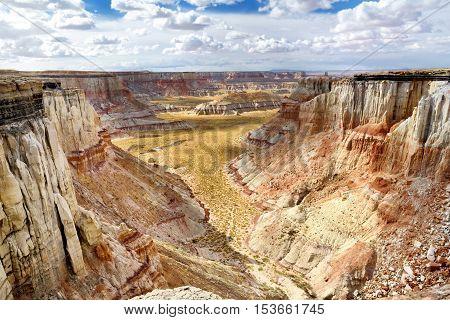 Stunning White Striped Sandstone Hoodoos In Coal Mine Canyon Near Tuba City, Arizona