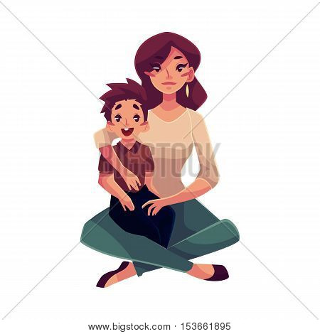 Mother and son sitting on the floor and hugging each other, cartoon vector illustrations isolated on white background. Pretty young woman with a little son sitting on her knees, happy family concept