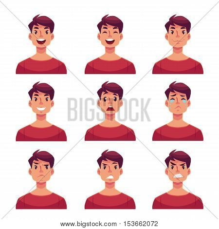 Young man face expression, set of cartoon vector illustrations isolated on white background. Handsome boy emoji face icons, human expressions, set of male avatars with different emotions