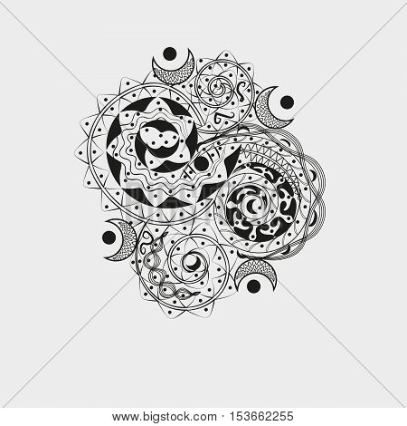 Asymmetric black ornament for tattoo Author handmade pattern style jib art curls moon dot design graphics black white gray background eps10 vector illustration Stock