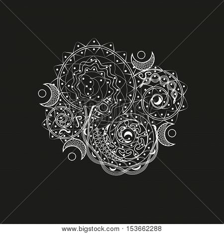 White asymmetric pattern  Abstract design tattoo pattern on the body of the author of henna hand made folk art style circle curl weaving point line drawing eps10 black background stock vector illustration