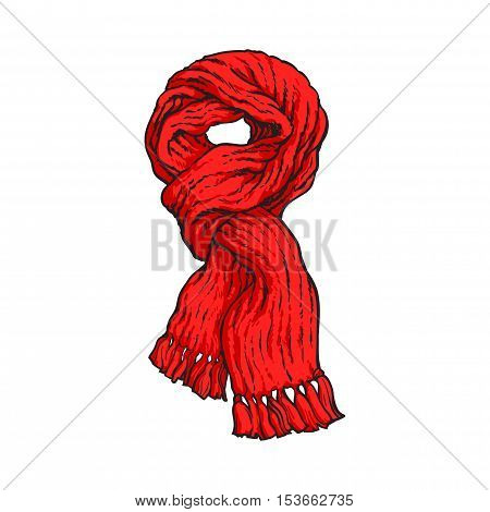 Bright red slip knotted winter knitted scarf with tassels, sketch style vector illustrations isolated on white background. Hand drawn fluffy woolen scarf tied in slip knot, winter accessory