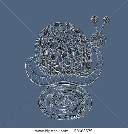 Lace snail on stand Abstract design handmade author of the idea of an elegant drawing flowers pattern leaf insect curls fun molluscs Ground background eps10 vector illustration Stock