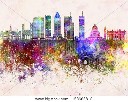 Montreal V2 skyline artistic abstract in watercolor background