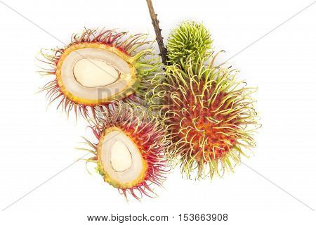 Fresh rambutan fruit isolate on white background Rambutan fruit is popular in asia.