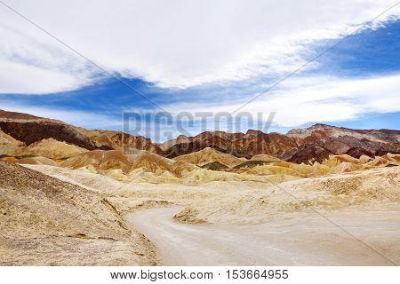 Famous Twenty Mule Teams Road In Death Valley National Park