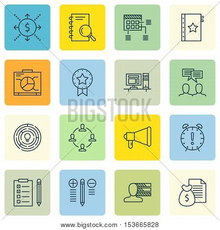 Set Of Project Management Icons On Personal Skills, Time Management And Schedule Topics. Editable Ve
