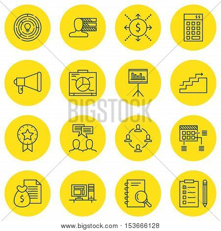 Set Of Project Management Icons On Personal Skills, Present Badge And Collaboration Topics. Editable