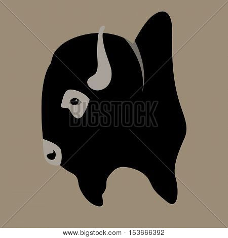 buffalo head vector illustration style Flat profile