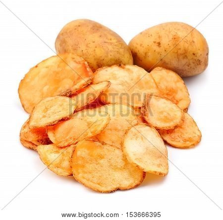 Homemade potato chips closeup isolated on white backgrounds.