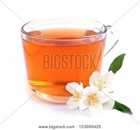 Cup of tea with jasmine on the white background