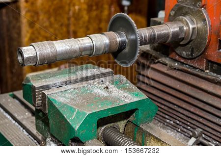 part of old lathe. Old metalwork lathe