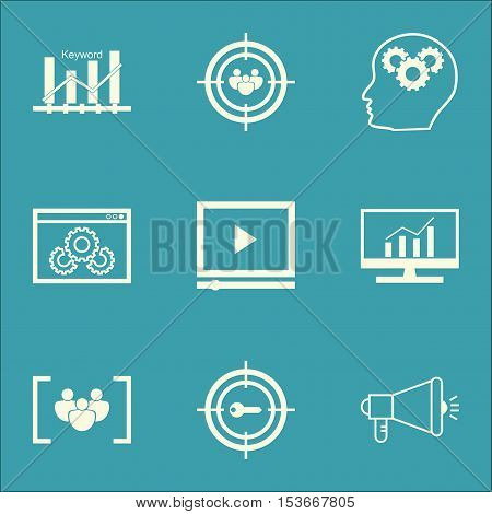 Set Of Advertising Icons On Video Player, Website Performance And Questionnaire Topics. Editable Vec