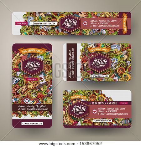 Corporate Identity vector templates set design with doodles hand drawn Artist theme. Colorful banner, id cards, flayer design. Templates set