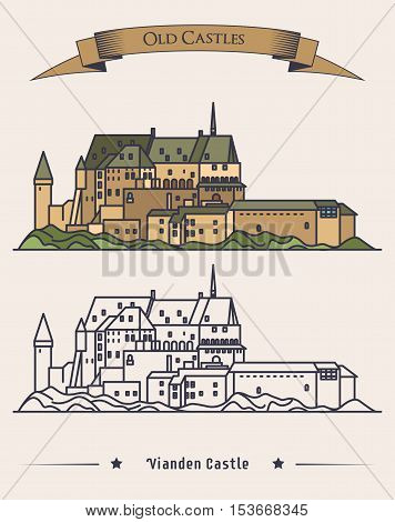 Luxembourg Vianden old castle on mountain with ribbon on top. Romanesque and renaissance architecture of castle or palace. Exterior or outdoor view on building. Historical book medieval illustration