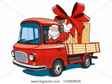 Vector isolated Santa Claus on red truck delivers gifts.