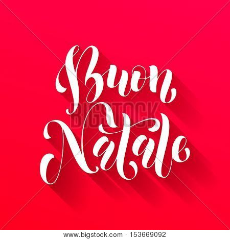 Buon Natale Italian vector greeting card print. Golden Merry Christmas in Italy congratulation letter board poster with polka dot background