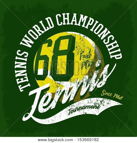 Tennis ball sportswear design or tournament logo. Print for t-shirt or sport gear branding. May be used for fabric print or racket or rack sport logo, world championship or athletic theme