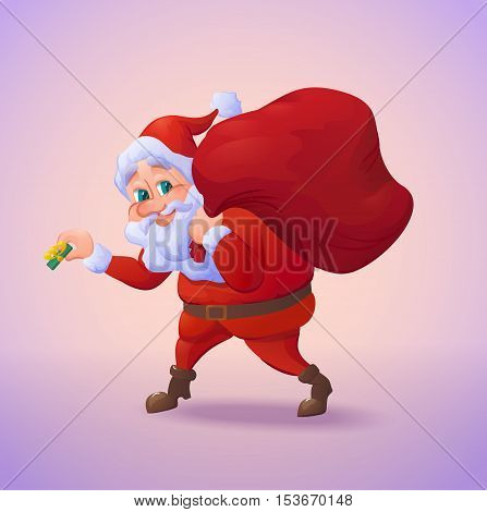 Santa claus sneaking with a gift in his hand and carrying sack of gifts. Christmas cartoon character. Vector illustration
