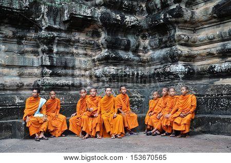 Buddhist Monks In Reddish Yellow Robes