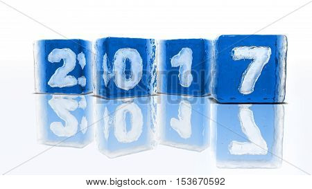 Four blocks of rough blue ice on white background with frozen-in bubbles in the form of numbers 2 0 1 and 7