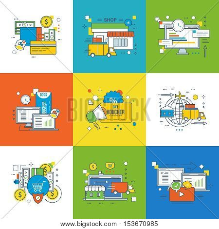Concept of payment methods and protection, project management, voucher discount and shopping, mobile marketing and delivery, video advertising. Vector illustration.
