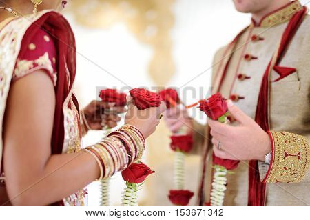 Amazing Hindu Wedding Ceremony. Details Of Traditional Indian Wedding.