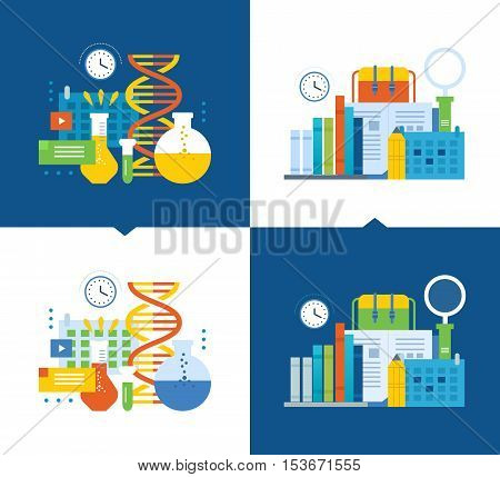 Concept of illustration - modern education and research, distance courses, working time and scheduling of working time. Vector illustration on a light and dark background.