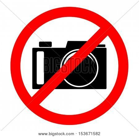 Cameras prohibited sign. No photography sign isolated on white background