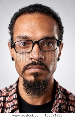 Portrait of real white caucasian man with no expression ID or passport photo full collection of diverse face and expressions