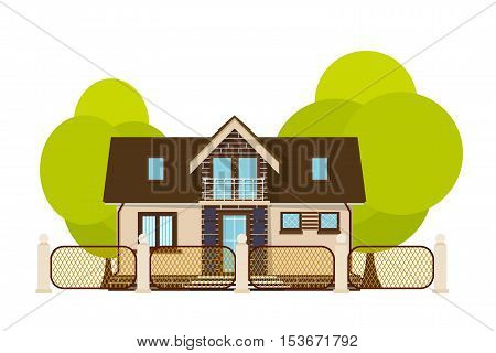 Cute little house. Cartoon house with fence and green tree on a white background. Illustration of the cozy rural home isolate. Stock vector