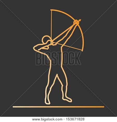 Gold line archery icon. Vector silhouette of archer.