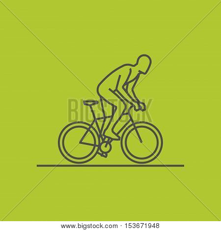 Black line cycling icon. Vector silhouette of cyclist. Modern outline cycling logo.