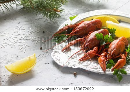 Boiled Crawfish, Lemon And Parsley On A Concrete Background. Appetizer For Christmas Or New Year's T