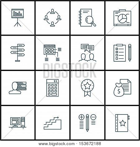 Set Of Project Management Icons On Board, Investment And Personal Skills Topics. Editable Vector Ill