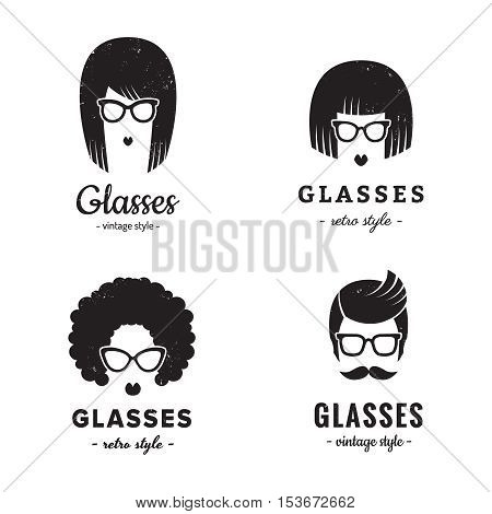 Eyeglasses logo vintage vector set (female and male). Hipster and retro style. Perfect for your business design.