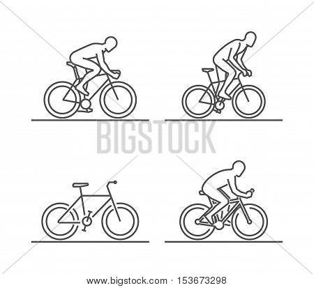 Line silhouettes of cycle. Vector set of linear cyclist figures.